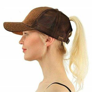 High Ponytail Hat Glitter Pull Through Adjustable